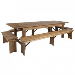 MFO Princeton Collection 9' x 40'' Antique Rustic Folding Farm Table and Four Bench Set