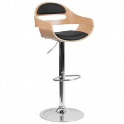 MFO Beech Bentwood Adjustable Height Bar Stool with Black Vinyl Seat and Cutout Padded Back