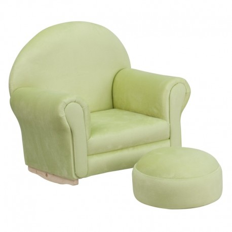 MFO Kids Green Microfiber Rocker Chair and Footrest