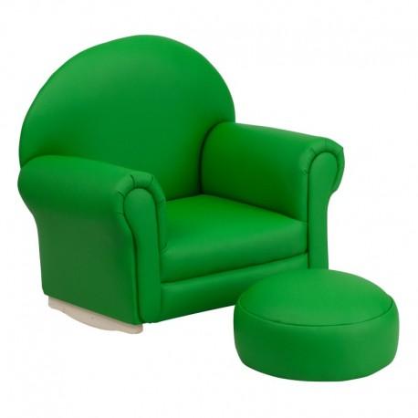 MFO Kids Green Vinyl Rocker Chair and Footrest