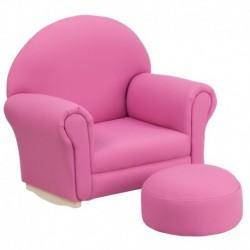 MFO Kids Hot Pink Fabric Rocker Chair and Footrest