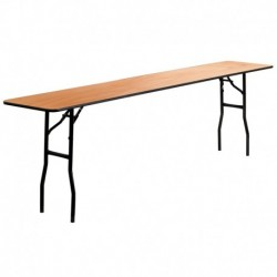 MFO 18'' x 96'' Rectangular Wood Folding Training / Seminar Table with Smooth Clear Coated Finished Top