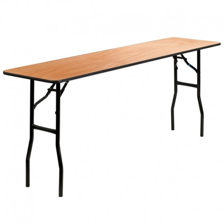 MFO 18'' x 72'' Rectangular Wood Folding Training / Seminar Table with Smooth Clear Coated Finished Top