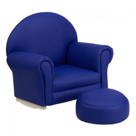 MFO Kids Navy Vinyl Rocker Chair and Footrest