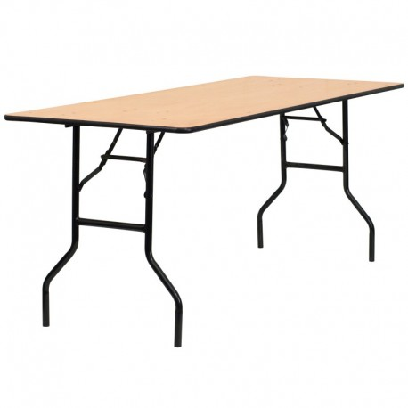 MFO 30'' x 72'' Rectangular Wood Folding Banquet Table with Clear Coated Finished Top