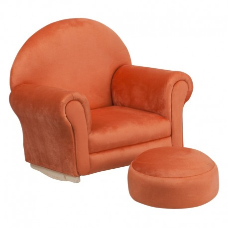 MFO Kids Orange Microfiber Rocker Chair and Footrest
