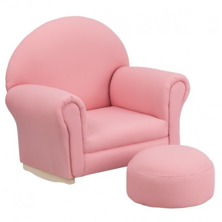 MFO Kids Pink Fabric Rocker Chair and Footrest