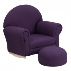 MFO Kids Purple Fabric Rocker Chair and Footrest