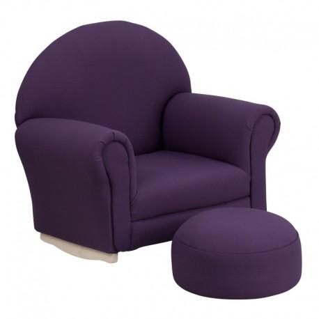 MFO Kids Purple Fabric Rocker Chair and Footrest