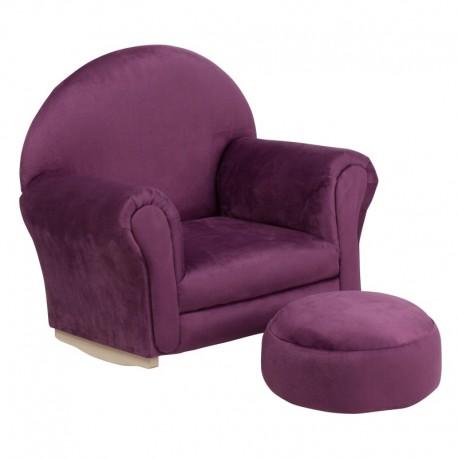 MFO Kids Purple Microfiber Rocker Chair and Footrest