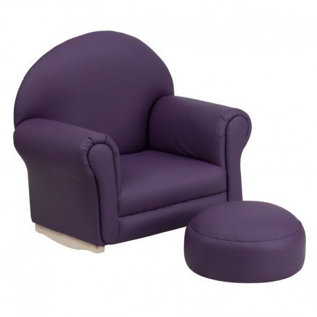 MFO Kids Purple Vinyl Rocker Chair and Footrest