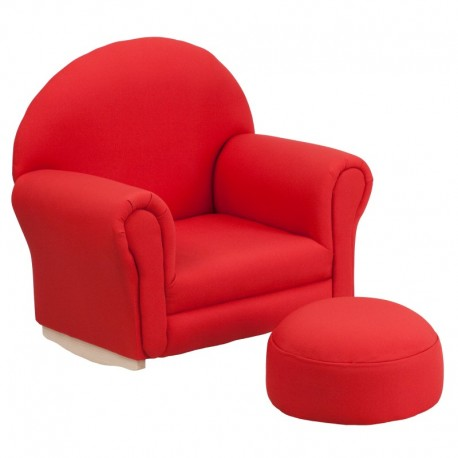 MFO Kids Red Fabric Rocker Chair and Footrest