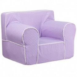 MFO Oversized Lavender Dot Kids Chair with White Piping