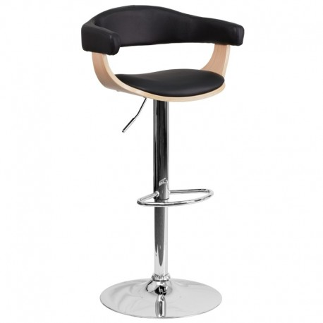 MFO Beech Bentwood Adjustable Height Bar Stool with Black Vinyl Upholstery