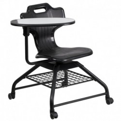 MFO Black Mobile Classroom Chair with Swivel Tablet Arm