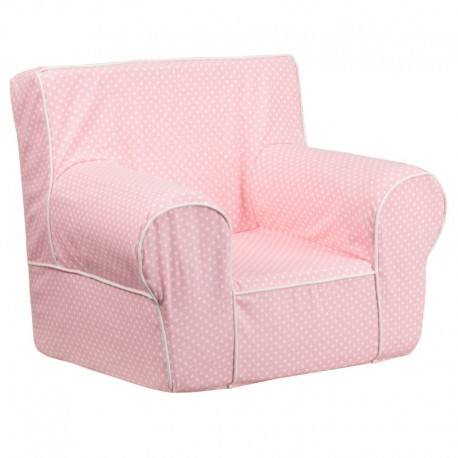 MFO Small Light Pink Dot Kids Chair with White Piping