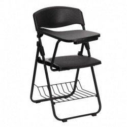 MFO Black Plastic Chair with Right Handed Tablet Arm and Book Basket