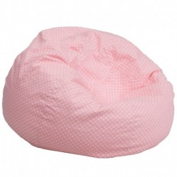 MFO Oversized Light Pink Dot Bean Bag Chair