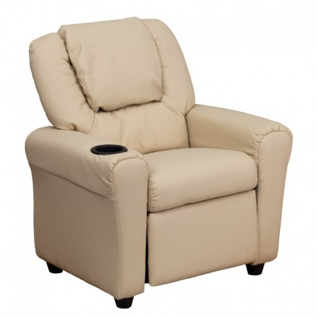MFO Contemporary Beige Vinyl Kids Recliner with Cup Holder and Headrest