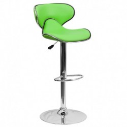 MFO Contemporary Cozy Mid-Back Green Vinyl Adjustable Height Bar Stool with Chrome Base