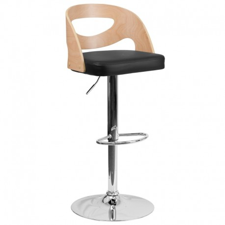 MFO Beech Bentwood Adjustable Height Bar Stool with Black Vinyl Seat and Cutout Back