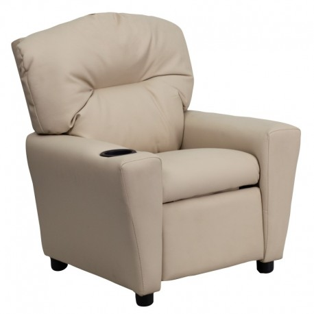 MFO Contemporary Beige Vinyl Kids Recliner with Cup Holder