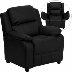 MFO Deluxe Padded Contemporary Black Leather Kids Recliner with Storage Arms
