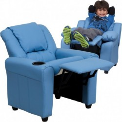 MFO Contemporary Light Blue Vinyl Kids Recliner with Cup Holder and Headrest