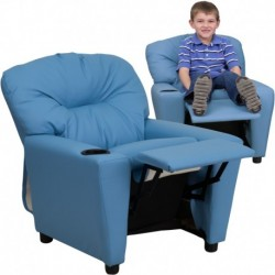 MFO Contemporary Light Blue Vinyl Kids Recliner with Cup Holder