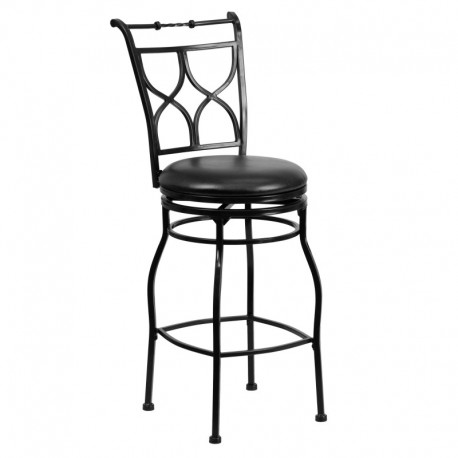 MFO 29'' Black Metal Bar Stool with Black Leather Swivel Seat