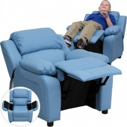 MFO Deluxe Padded Contemporary Light Blue Vinyl Kids Recliner with Storage Arms