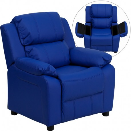 MFO Deluxe Padded Contemporary Blue Vinyl Kids Recliner with Storage Arms