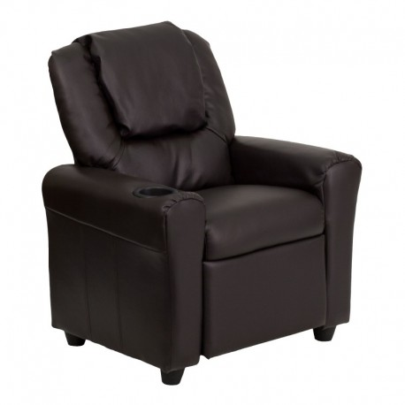 MFO Contemporary Brown Leather Kids Recliner with Cup Holder and Headrest