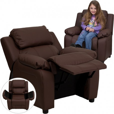 MFO Deluxe Padded Contemporary Brown Leather Kids Recliner with Storage Arms