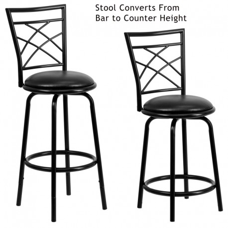MFO 29'' Black Metal DUAL Height Counter or Bar Stool with Black Leather Swivel Seat