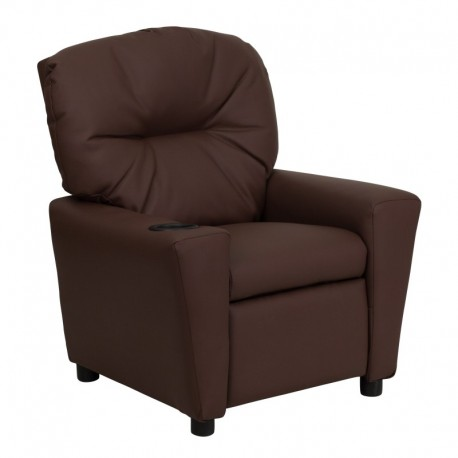 MFO Contemporary Brown Leather Kids Recliner with Cup Holder