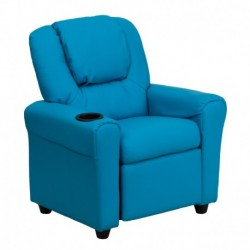 MFO Contemporary Turquoise Vinyl Kids Recliner with Cup Holder and Headrest
