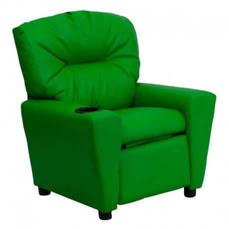 MFO Contemporary Green Vinyl Kids Recliner with Cup Holder