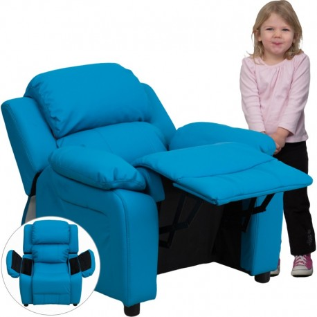 MFO Deluxe Padded Contemporary Turquoise Vinyl Kids Recliner with Storage Arms