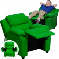 MFO Deluxe Padded Contemporary Green Vinyl Kids Recliner with Storage Arms