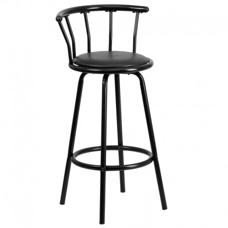 MFO Crown Back Black Metal Bar Stool with Black Vinyl Swivel Seat