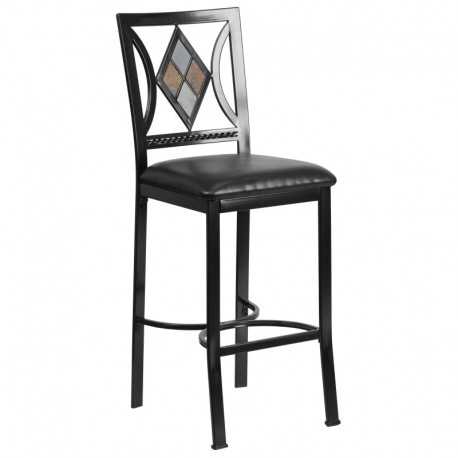 MFO 29'' Black Metal Bar Stool with Black Leather Seat