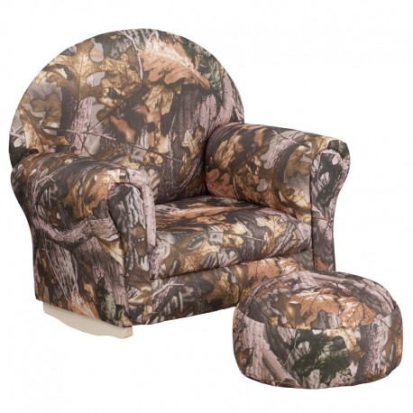 MFO Kids Camouflage Fabric Rocker Chair and Footrest