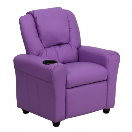 MFO Contemporary Lavender Vinyl Kids Recliner with Cup Holder and Headrest