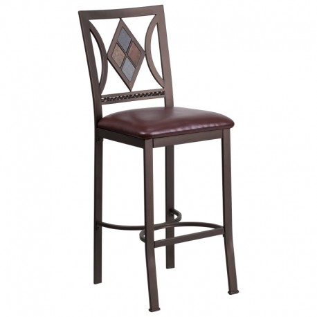 MFO 29'' Brown Metal Bar Stool with Brown Leather Seat