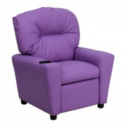 MFO Contemporary Lavender Vinyl Kids Recliner with Cup Holder