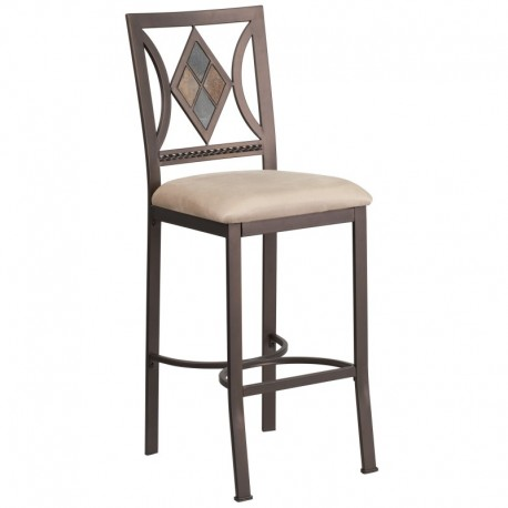 MFO 29'' Brown Metal Bar Stool with Beige Microfiber Seat