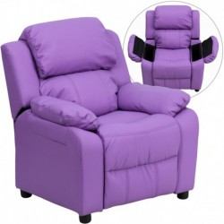 MFO Deluxe Padded Contemporary Lavender Vinyl Kids Recliner with Storage Arms