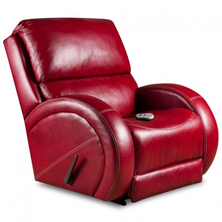 MFO Massaging Como Red Leather Recliner with Heat Control