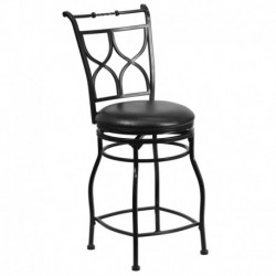 MFO 24'' Black Metal Counter Height Stool with Black Leather Swivel Seat